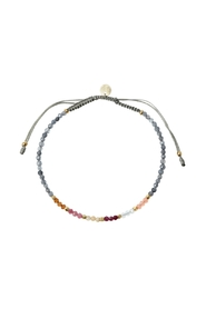 Berry Rainbow Mix With Grey Jade & Khakigrey Ribbon Bracelet