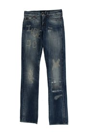 Torn Cotton Straight Fit Jeans
