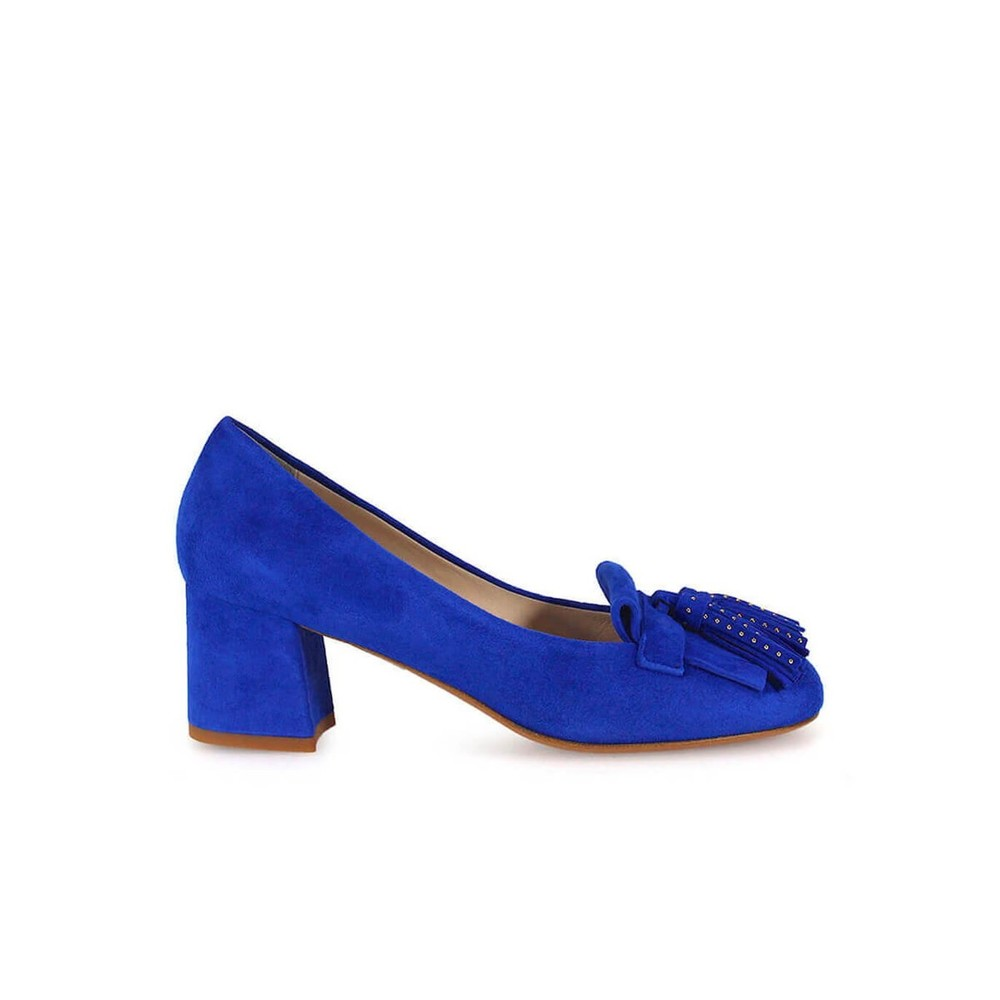 CORNFLOWER HEELED LOAFERS