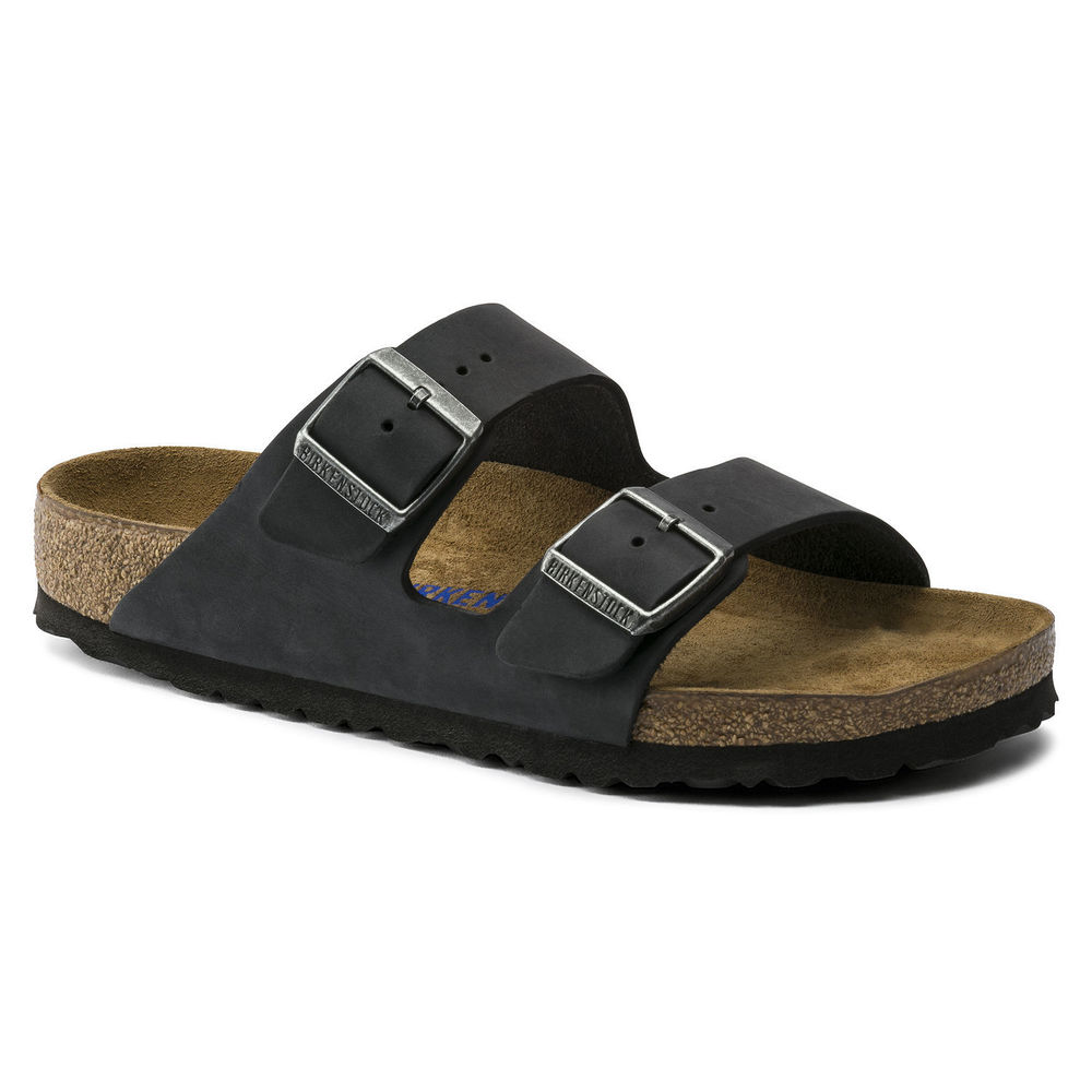 Svart Birkenstock Arizona Soft Footbed Sandal Smal Fit