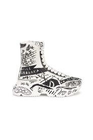 Hand-Painted Graffiti Nappa Daymaster Mid-Top Sneakers