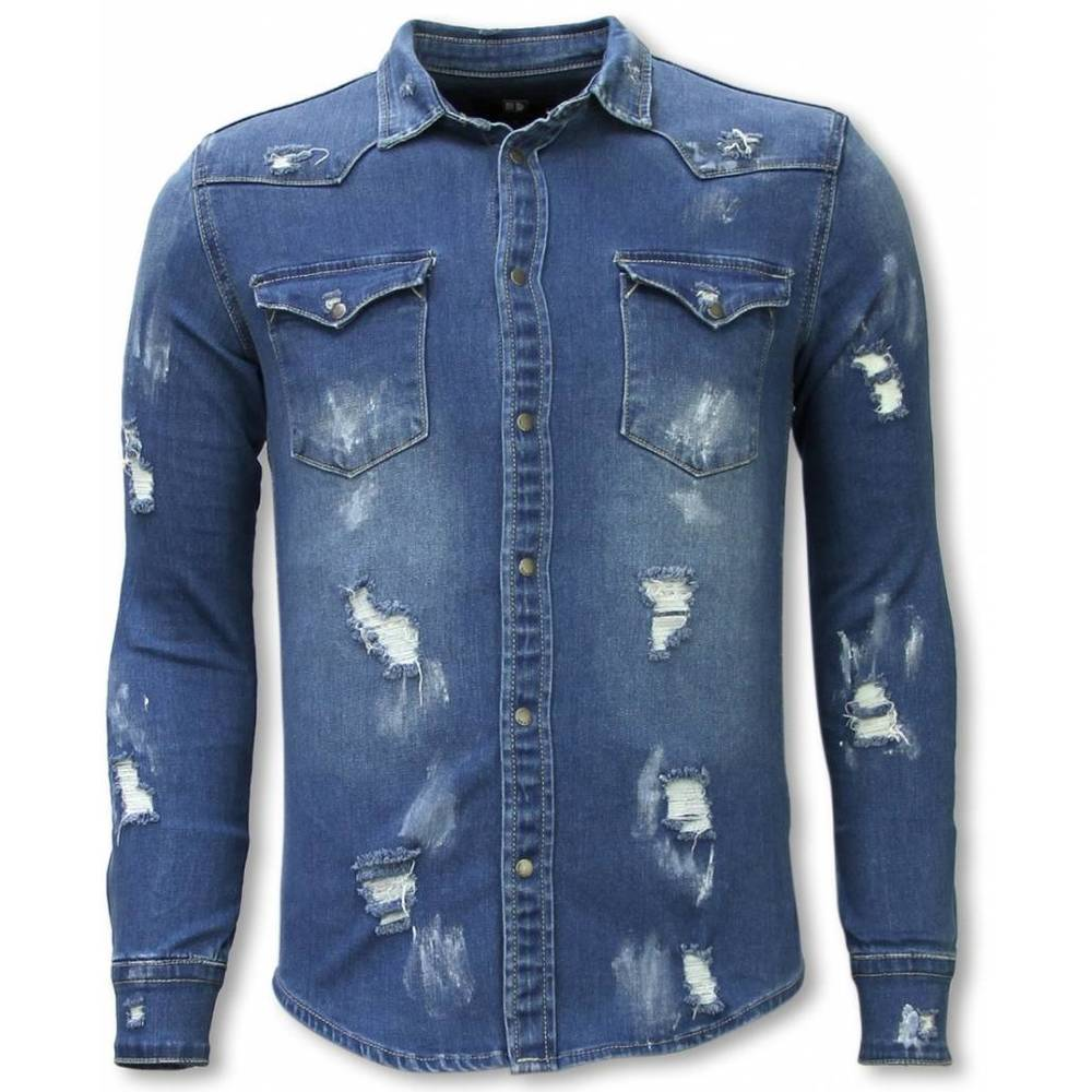 Denim Shirt - Slim Fit Damaged Allover