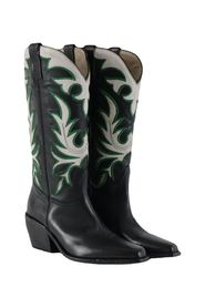 women's black texan boots with embroidery