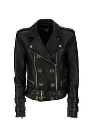 Leather biker jacket with gold-tone buttons