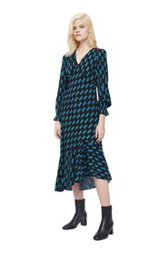 Manal Viscose Jacquard Asymmetrical Midi Dress