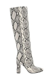 Python printed leather boots.