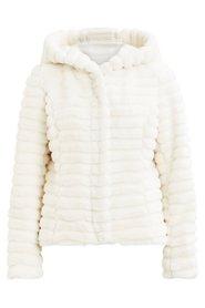 VILA Vimaya Hooded Fur Coat Cloud Dancer