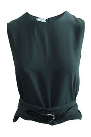 Charcoal Silk Twill top with Silk/Leather Belt