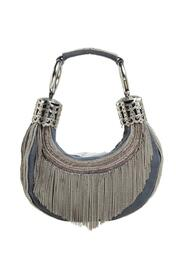 Canvas Chain Embellished Crescent Hobo