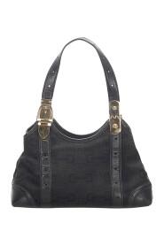 Horsebit Canvas Shoulder Bag