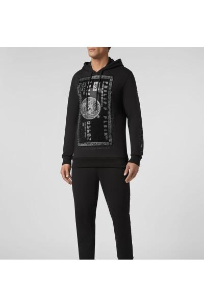 Philipp Plein Black Hoodie Sweatshirt Platinum Credit Card Hoodies & Sweatvesten - Zwart