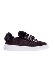 H365 sneaker in suede with microglitter effect and faux fur application