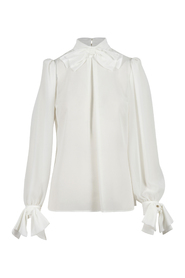 Blouse in georgette fabric with bow