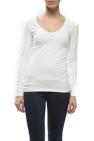 Claesens Ladies V neck t-shirts l/s White