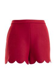 Wool blend scalloped short pants