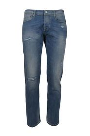 light wash 5-pocket jeans with abrasions
