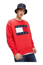 TOMMY JEANS DM0DM07201 FLAG CREW sweater mænd RØDE