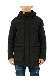 Down Jacket Parka In Ripstop Fabric