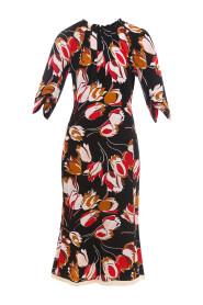 Tulip Print Mid Length Dress