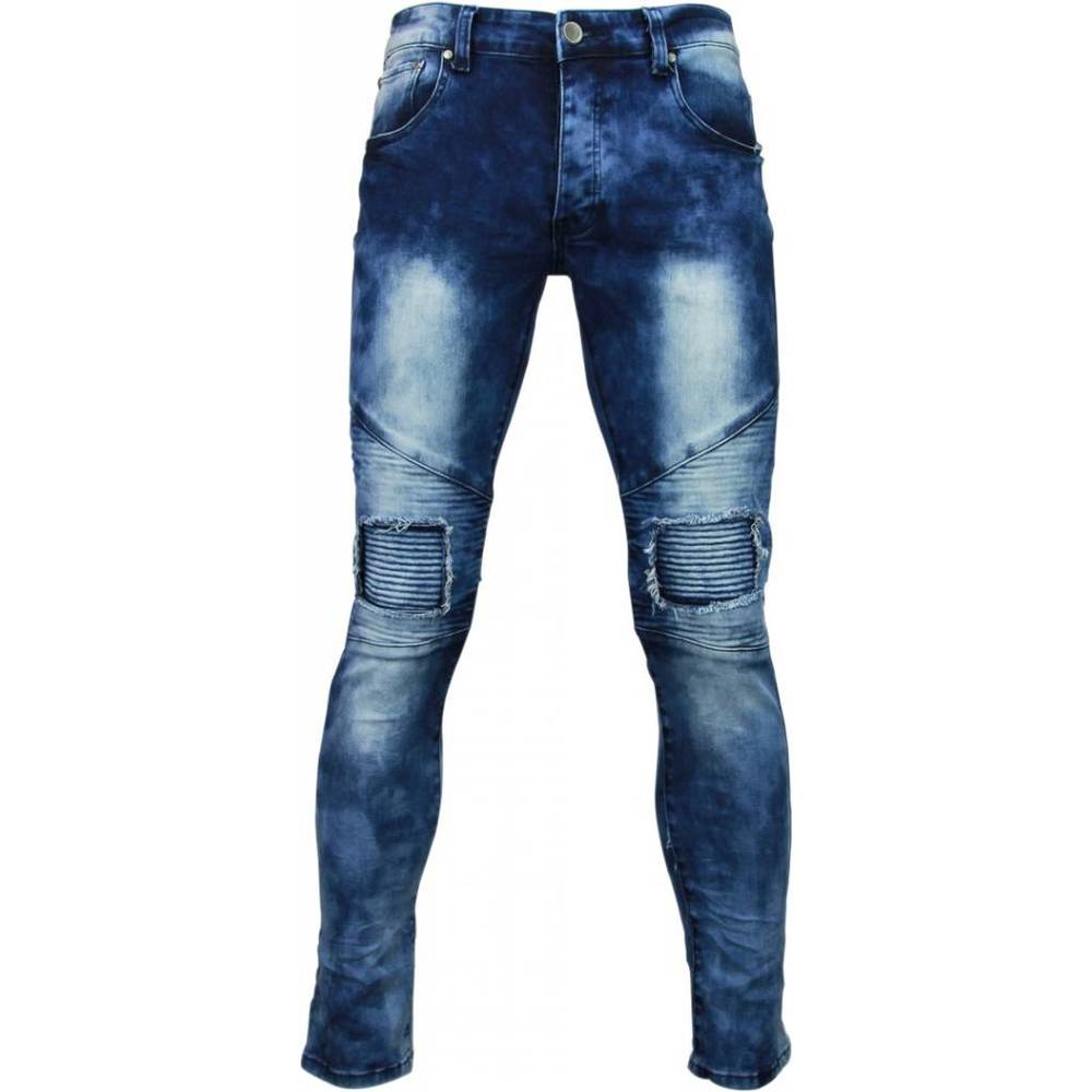 Exclusieve Jeans - Slim Fit Biker Jeans Washed Ripped Knee