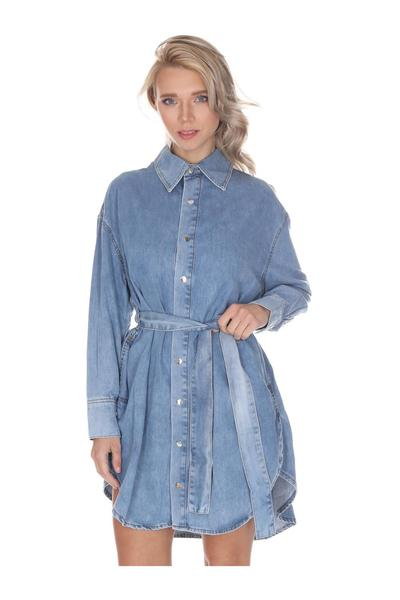 Den.blue Dress With Denim Belt Liu Jo Kjoler
