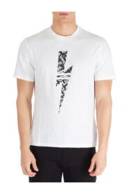 men's short sleeve t-shirt crew neckline jumper graffiti thunderbolt