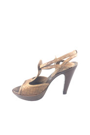 Leather Intreciato T-Strap Sandal