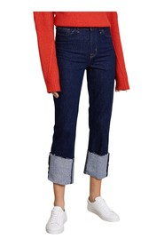 Jeans Straight Cuffed High Rise