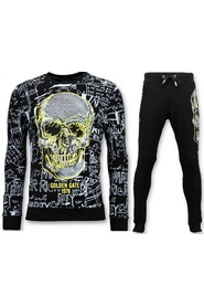 Jogging Suit with Print - Neon Yellow Skull