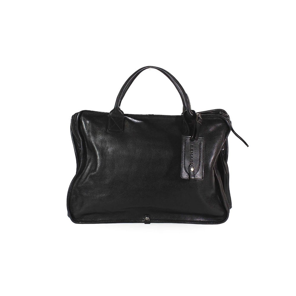 BLACK LEATHER BUSINESS HANDBAG