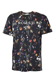 T-SHIRT BLACK FLOWERY ALL OVER PRINT LOGO
