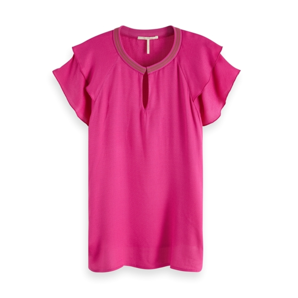 Rayon top with sporty rib and ruffle sleeve 149820