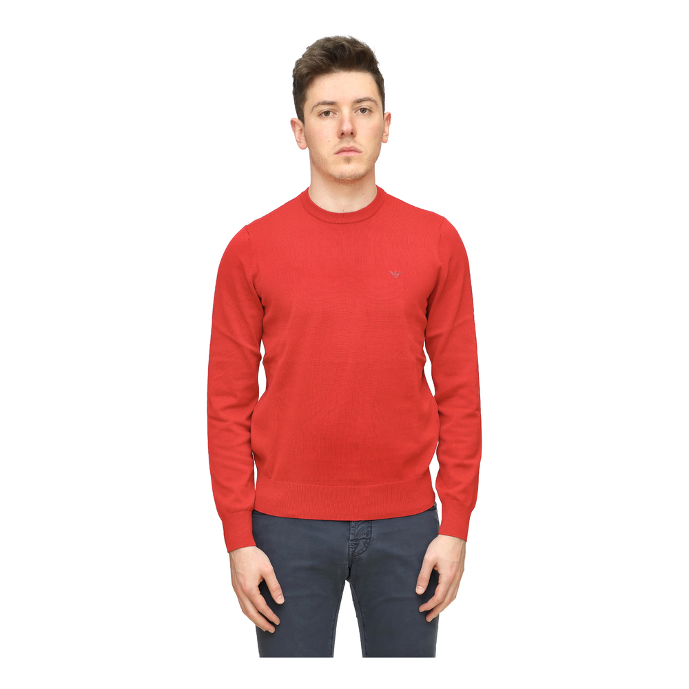 Crew neck sweater with front logo