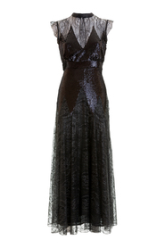 Long dress with sequins and lace