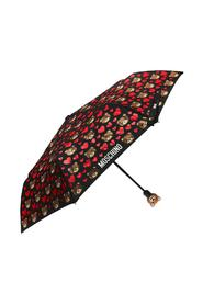 Patterned umbrella with teddy bear