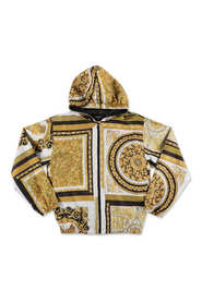 baroque print windbreaker with hood