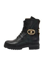 Biker boots with logoed buckle