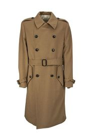 Double-breasted camel trench coat with belt