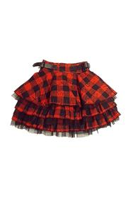 FLOUNCE SKIRT WITH TULLE AND LOGO SQUARES