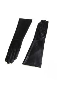 Rękawiczki skórzane półdługie ze ściągaczem