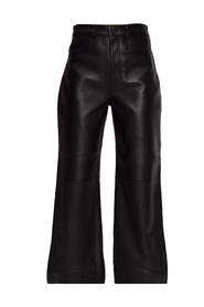 Leather trousers with logo