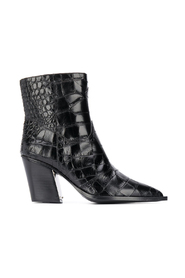 Printed croc leather 7cm zipped boots