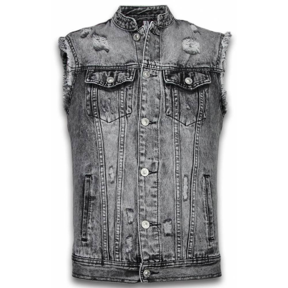Spijkerjasje Heren Denim Gilet Sleeveless - Damaged Look
