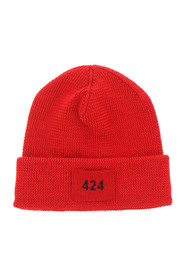 Logo patch beanie hat by 424 in red wool, fair isle intarsia knit, logo patch to the front and turn-up brim. Color: red Made in: Italy Composition: 100% wool