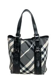 Pre-owned Beat Check Nylon and Patent Leather Lowry Tote