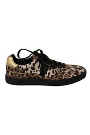 Leopard Cotton Leather Sneakers