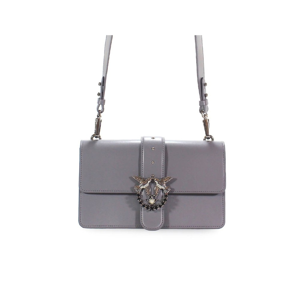 PINKO GREY LEATHER SIMPLY 6 LOVE BAG