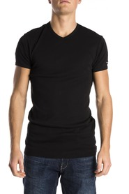 Slater T-Shirt Body Fit V-Neck Black