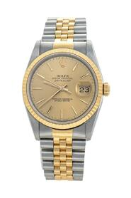 pre-owned Champagne 18K Yellow Gold & Stainless Steel Datejust 16233 Automatic Unisex Wristwatch 36 mm