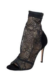 Lace and Suede Missy Open Toe Ankle Boots